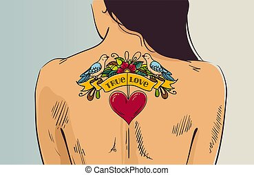 Girl with romantic tattoo. Woman turned with her back. Tattoo with heart and dove on back. Old school style