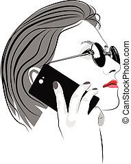 Girl with round sun glasses talking on cell phone