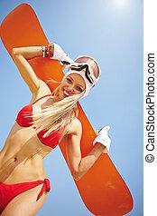 Girl with sandboard