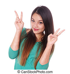 girl with scars from self-harm making victory sign - young ...