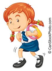 Girl with schoolbag walking