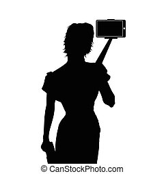 girl with selfie silhouette illustration