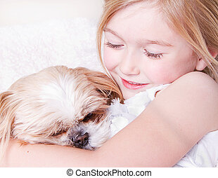 Girl with shih tzu dog