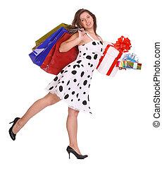 Girl with shopping bag, gift box.