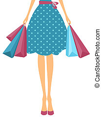 Girl with Shopping Bags - Illustration of a girl in cute ...