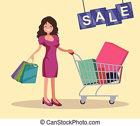 Girl with shopping cart and bags. Sale.
