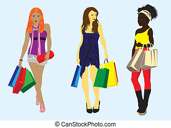 girl with shopping