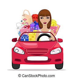Girl with shopping in the car