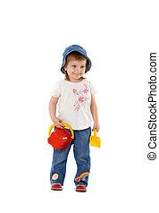 Girl with shovel and bucket