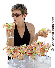 Girl with shrimp cocktails