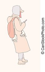 Girl with skates and a phone in her hands. hand drawn style vector doodle design illustrations on white background.