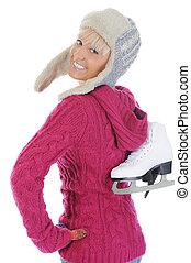 Girl with skates.