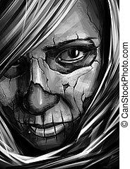 girl with skull art