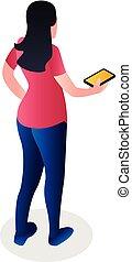 Girl with smartphone icon, isometric style