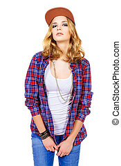 girl with smokey eyes - Modern teenager girl wearing casual ...