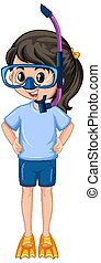 Girl with snorkel on white background