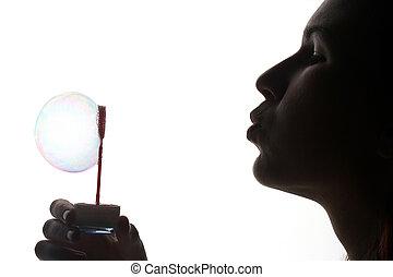 soap bubble - Seifenblase - girl with soap bubble -...