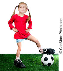 girl with soccer ball - little girl with soccer ball in...