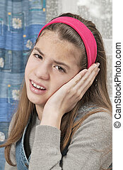 Girl with sore ear
