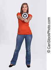 Girl with speaker