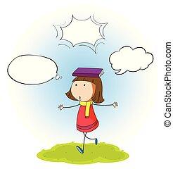 Girl with speech balloon illustration