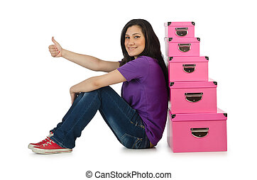 Girl with stack of giftboxes