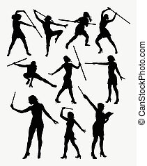 Girl with stick sport silhouette