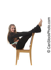 Girl with stretched legs