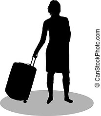 Girl with suitcase.
