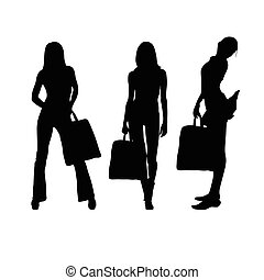 girl with suitcase silhouette illustration