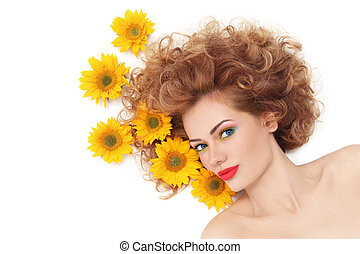 Girl with sunflowers - Young beautiful healthy woman with...