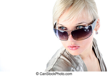 girl with sunglasses isolated on white