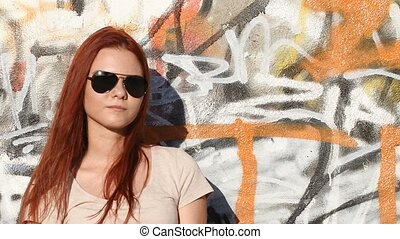 girl with sunglasses on background
