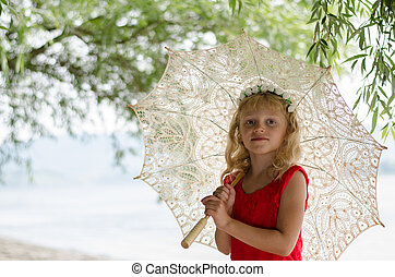 girl with sunshade