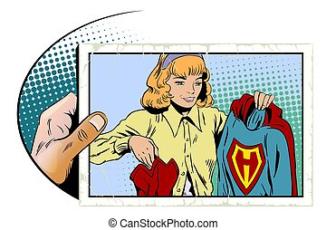 Girl with superhero costume in his hands. Stock illustration.
