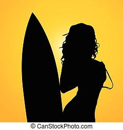 girl with surfboard on yellow background two