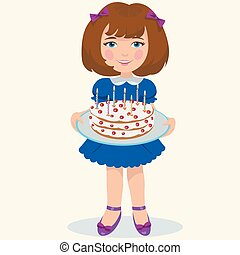 girl with sweet cake