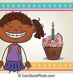 girl with sweet cupcake