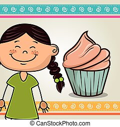 girl with sweet cupcake