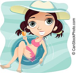 Girl with swim ring in swimming pool.