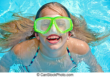 girl with swimming goggles