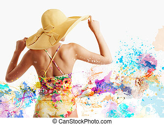 Girl with swimsuit with splash colorful effect