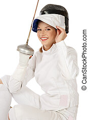 Girl with sword - Young fresh beautiful laughing girl in...