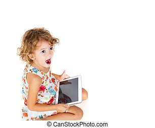 girl with tablet in hand