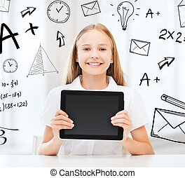 girl with tablet pc at school - education, school,...