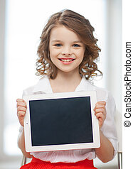 girl with tablet pc - picture of beautiful pre-teen girl...