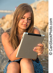 girl with tablet pc