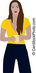 Girl with tea cup, illustration, vector on white background.