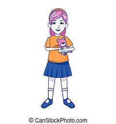 girl with teddy bear icon, colorful design