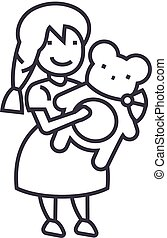 girl with teddy bear vector line icon, sign, illustration on background, editable strokes